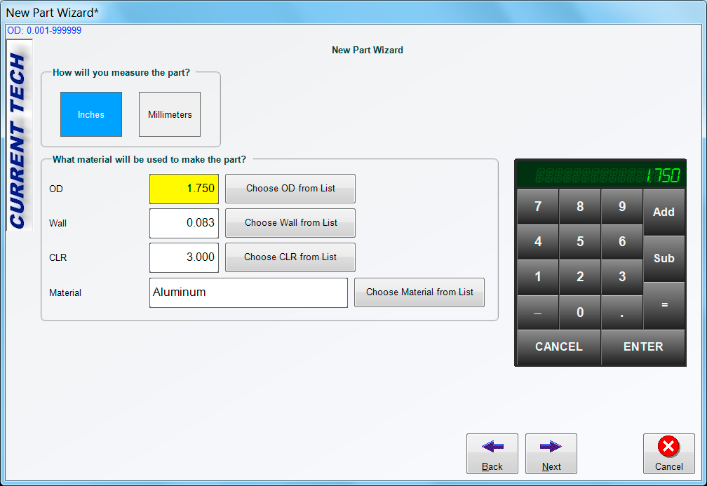 BendPro Control Software New Part Wizard
