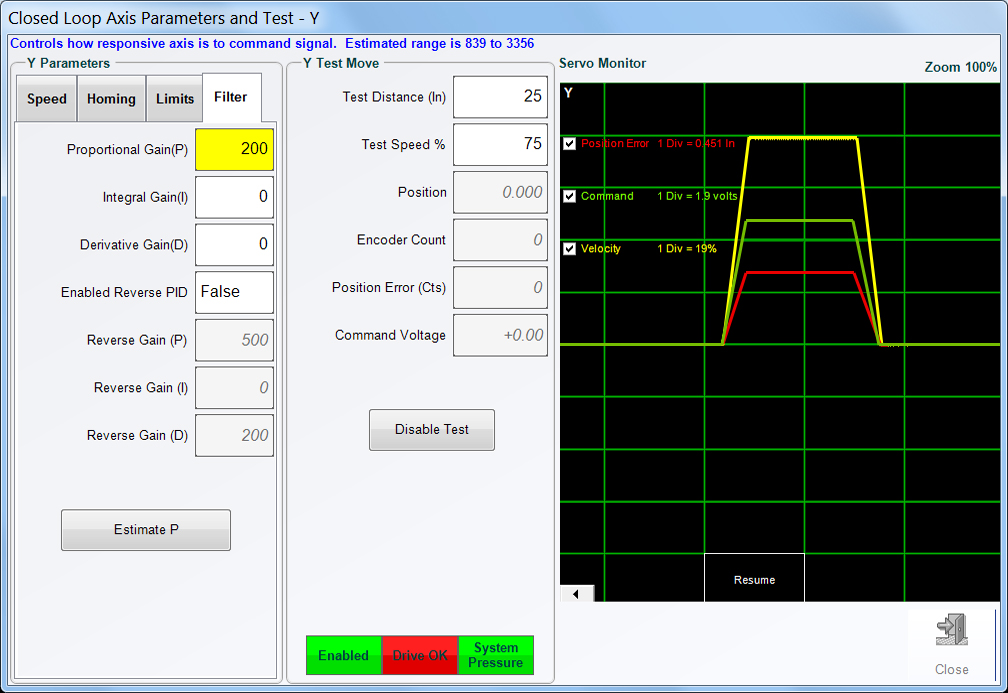 BendPro Control Software Diagnostics Servo Scope